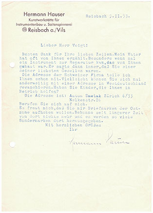 Letter from Hermann Hauser II to Kurt Voigt